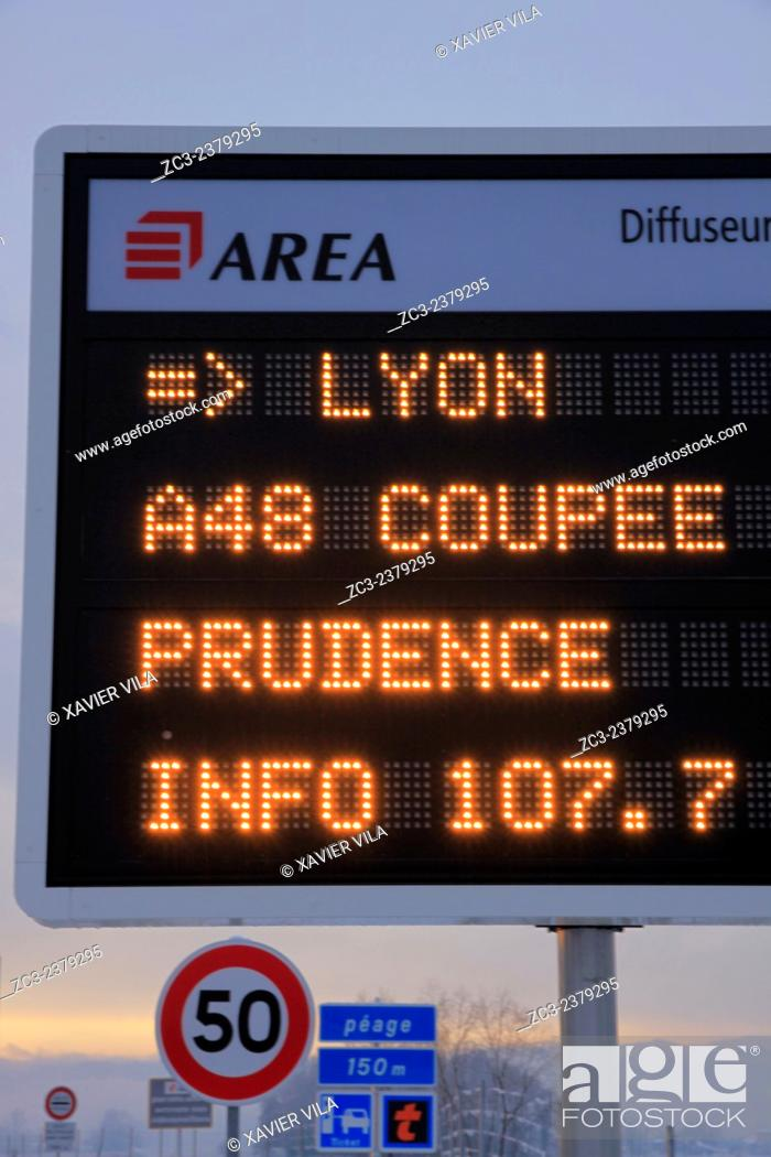 Stock Photo: Tolls and A48 highway, AREA, between Lyon and Grenoble, cut to traffic in the direction Grenoble - Lyon due to snow and ice, Chartreuse, Alpes, Rhone-Alpes.