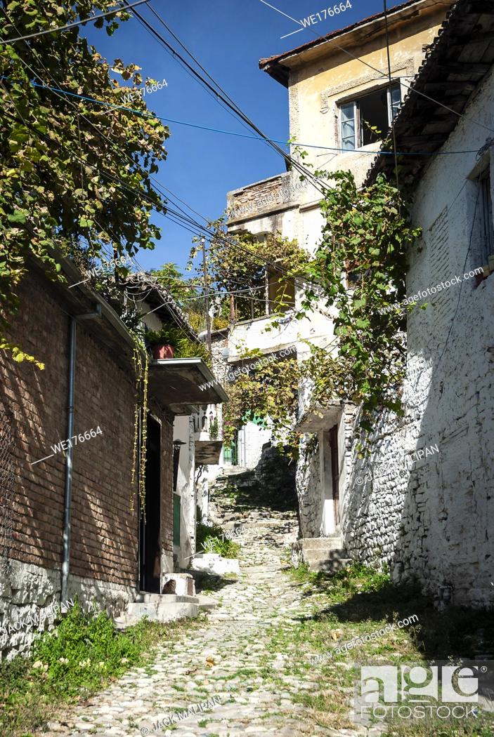 Stock Photo: cobbled street in berat old town in albania.