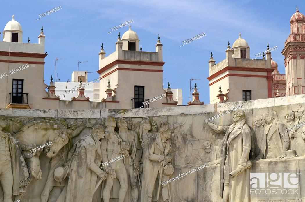 Stock Photo: Cádiz (Spain). Detail of the relief in the Monument to the Constitution of 1812 in the city of Cádiz.