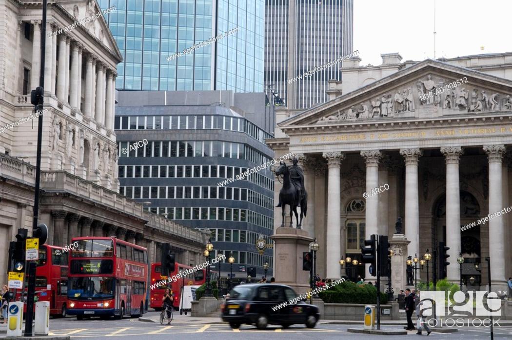 Stock Photo: Bank of England, Royal Exchange, London, England.
