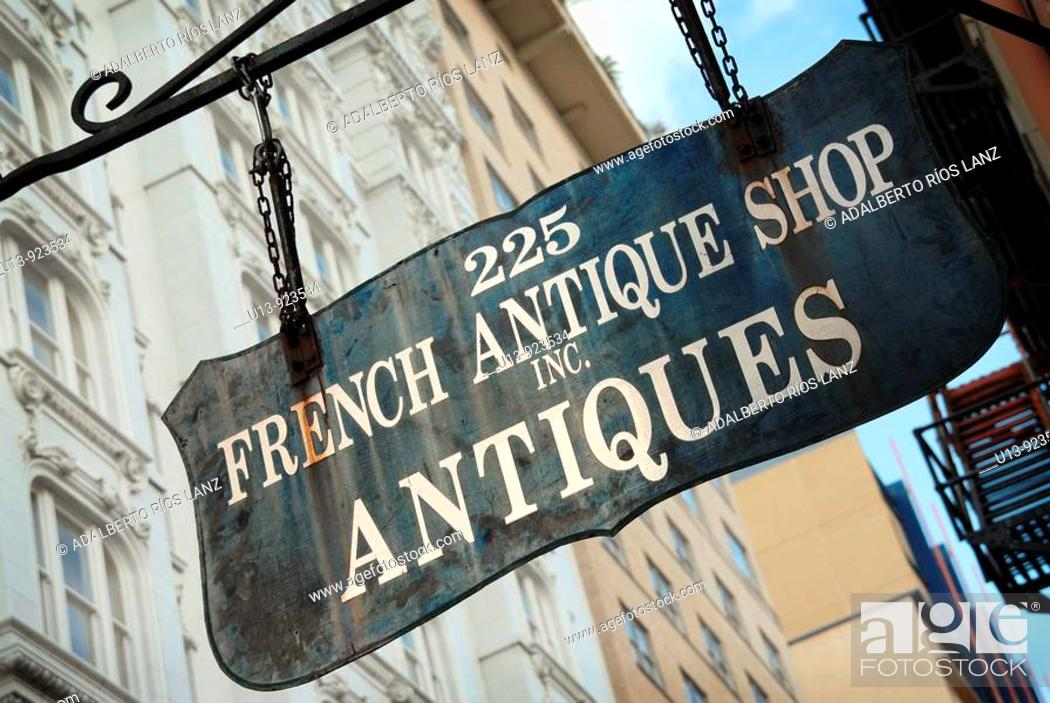 Stock Photo: French Antique Shop sign at Royal Street, French Quarter, New Orleans, Louisiana, USA.