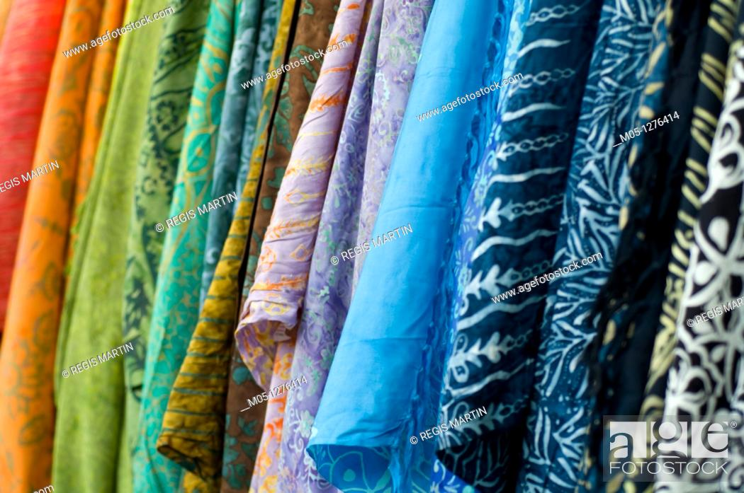 Stock Photo: Sari for sales at the Mindil Beach Market in Darwin, in the Northern Territory of Australia.