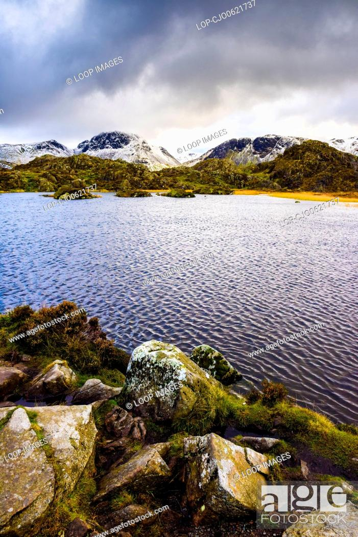 Stock Photo: Innominate Tarn with Great Gable beyond in the English Lake District National Park.