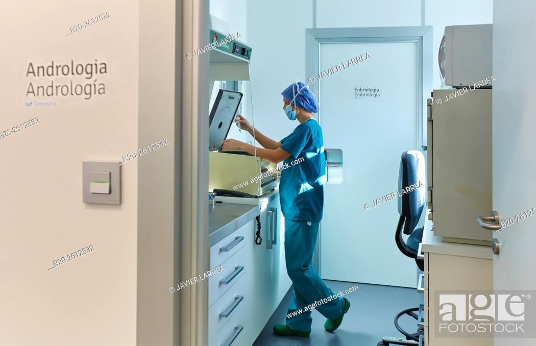 Stock Photo: Andrology, Embryology, ARU, Assisted Reproduction Unit, IVF, In Vitro Fertilization, Intra Cytoplasmic Sperm Injection, Hospital, Donostia, San Sebastian.