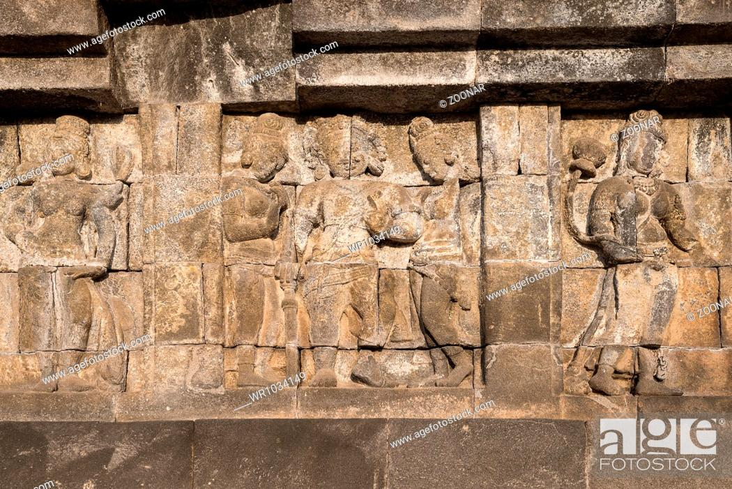 Stock Photo: Relief at Borobudur temple on Java, Indonesia.