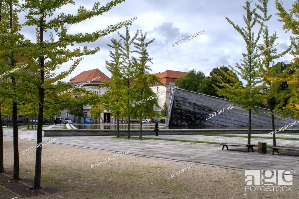 Stock Photo: Berlin Wall memorial in Invalidenpark Mauerbrunnen fountain Sinkende Mauer Sinking Wall by Christophe Girot , Berlin, Germany.