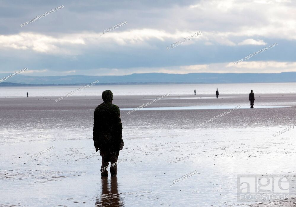 Stock Photo Crosby Beach England September 24 Statues Forming Another Place By Antony Gormley On 2017 The Are