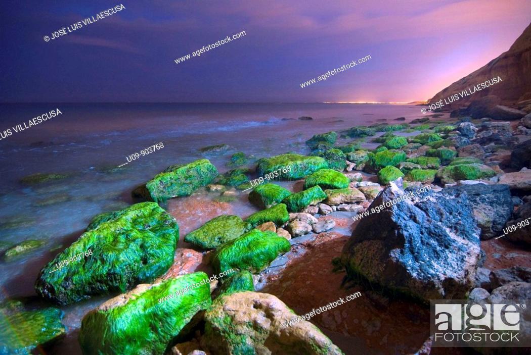Stock Photo: Barranco Rubio beach at night, Dehesa de Campoamor, Alicante province, Comunidad Valenciana, Spain.