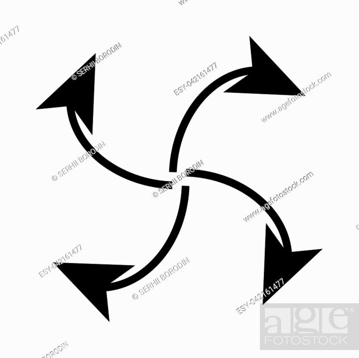 Vector: Four arrows in loop from center it is black icon . Flat style.