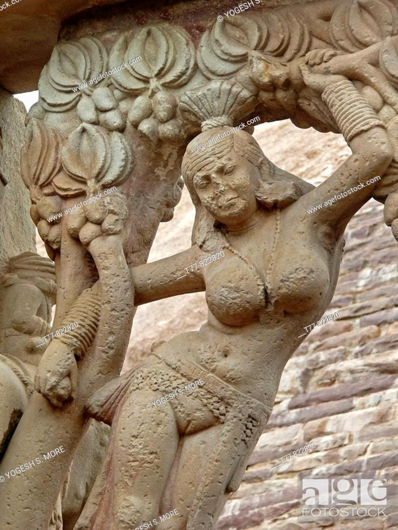 Stock Photo: Purvi toran dwar, East gate, Sanchi, Madhya pradesh, India. Emperor Asoka (273-236 B.C.) built stupas in Buddha's honour at many places in India.
