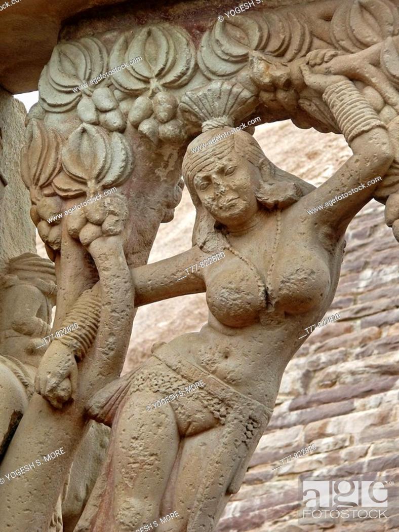 Stock Photo: Purvi toran dwar, East gate, Sanchi, Madhya pradesh, India. Emperor Asoka (273-236 B.C.) built stupas in Buddha's honour at many places in India.