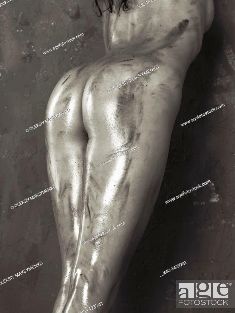 Stock Photo: Beautiful voluptuous shiny soiled naked woman body.