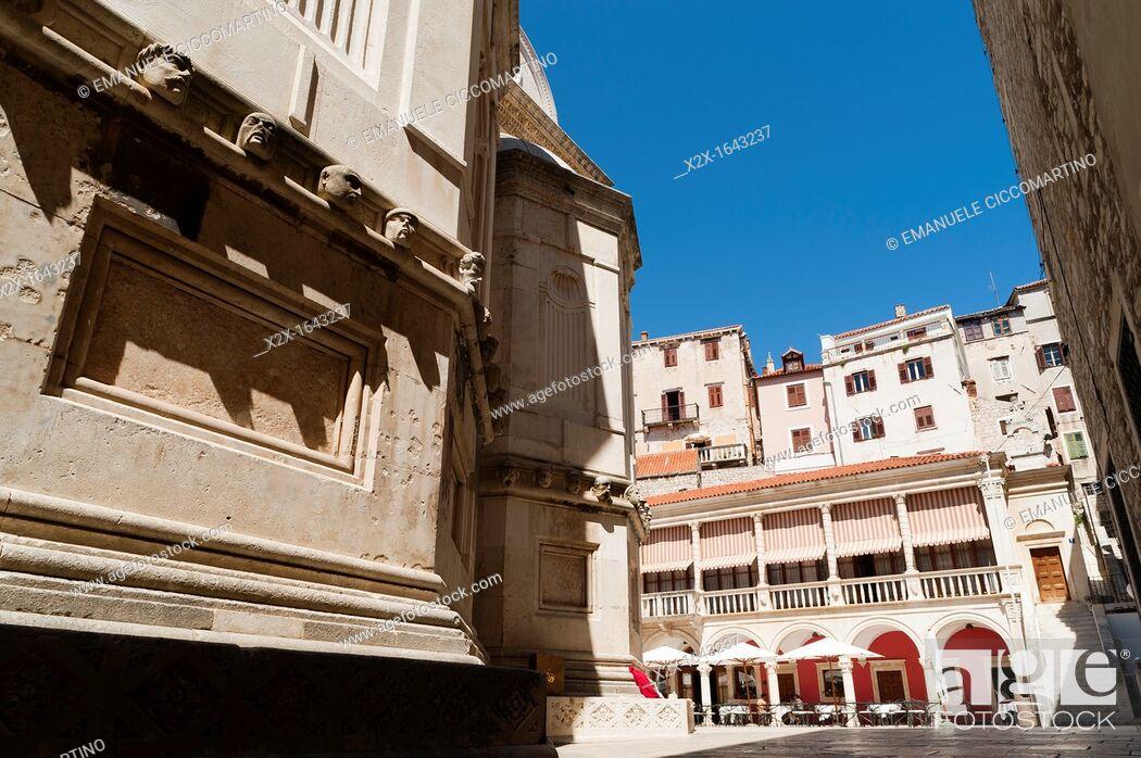 Stock Photo: 'Katedralni Trg - Platea Magna' Cathedral square, town of Sibenik, Dalmatia region, Croatia, Europe.