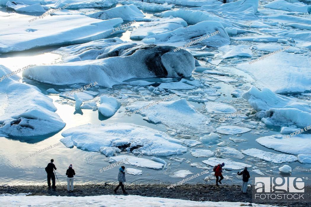 Stock Photo: Jokullsarlon lagoon as the draining point of the Vatnajokull glacier, Iceland.
