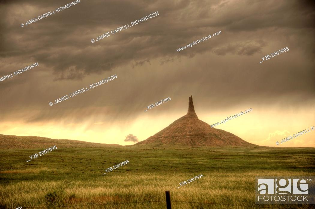 Stock Photo: Nebraska Western Chimney Rock near Bridgeport.