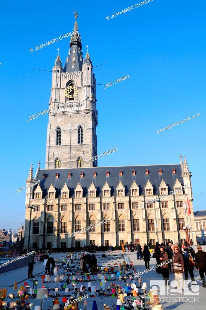 Stock Photo: The Belfry Tower, Sint-Baafsplein square, Ghent, Gent, Gand, Flemish region, Belgium.