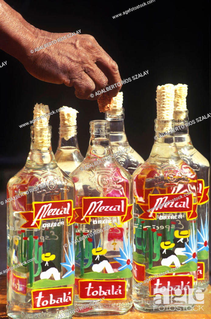 Stock Photo: Bottles of mezcal. Mezcal is a schnapps distillated in Oaxaca from the Agave angustifolia haw cone. Different kinds of Agaves are used in Mexico to produce hard.
