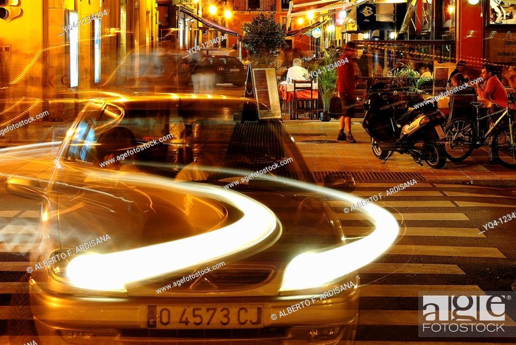 Stock Photo: Nightlife in Ribadesella, Asturias.