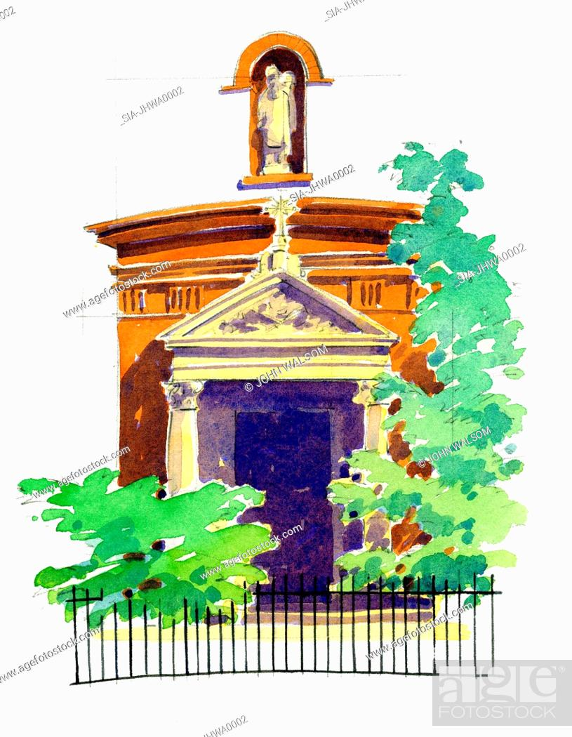 Imagen: Entrance to church with statue above.