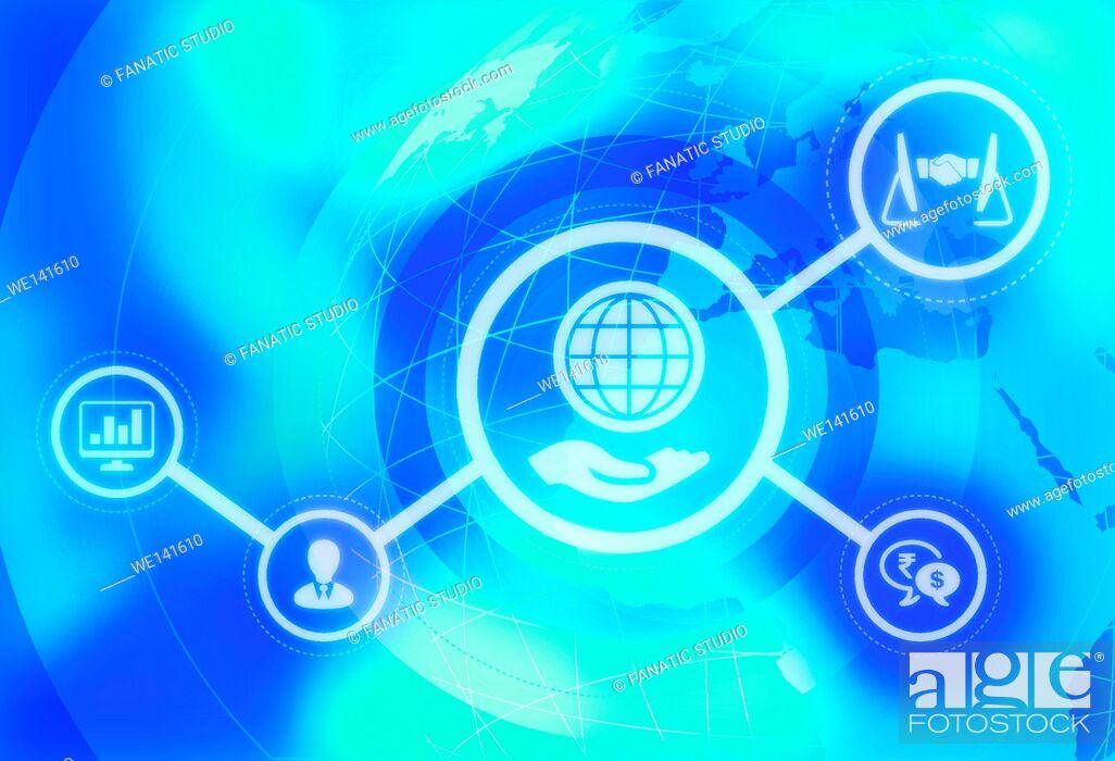 Stock Vector: Illustrative image representing business globalization.