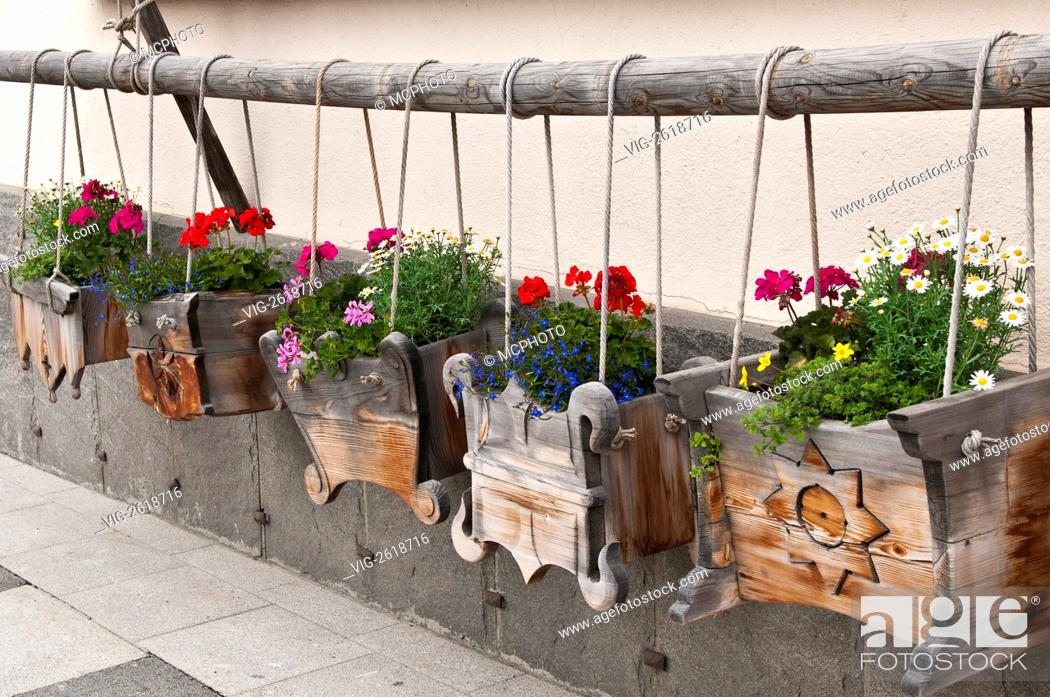 Pontresina Switzerland Wooden Window Flower Boxes 01 01 2011 Stock Photo Picture And Rights Managed Image Pic Vig 2618716 Agefotostock