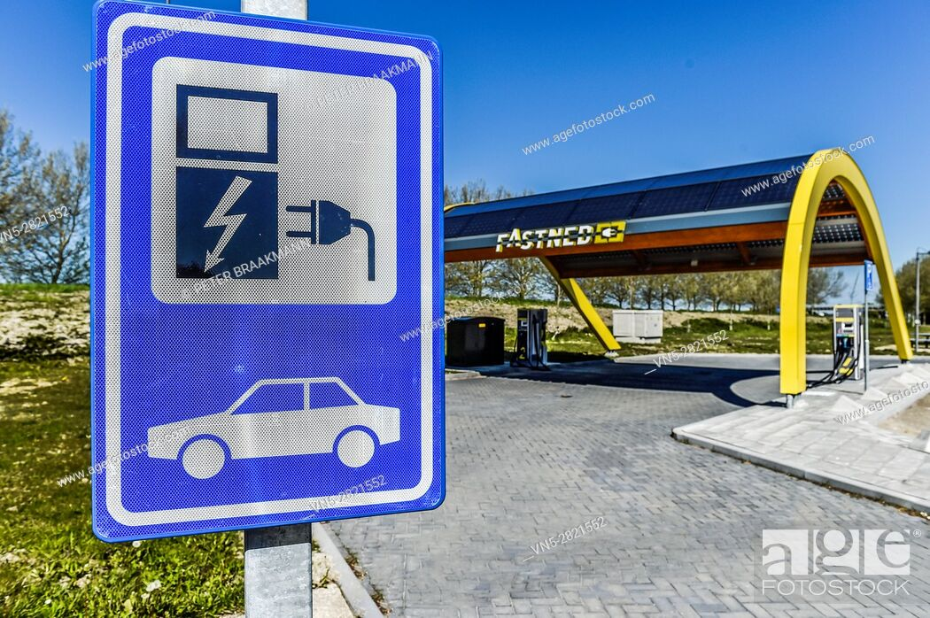 Stock Photo: 'S-HEER ARENDSKERKE, HOLLAND - MAY 1: Charging point for electric cars Vliedberg on May 1, 2016 in 's Heer Arendskerke.