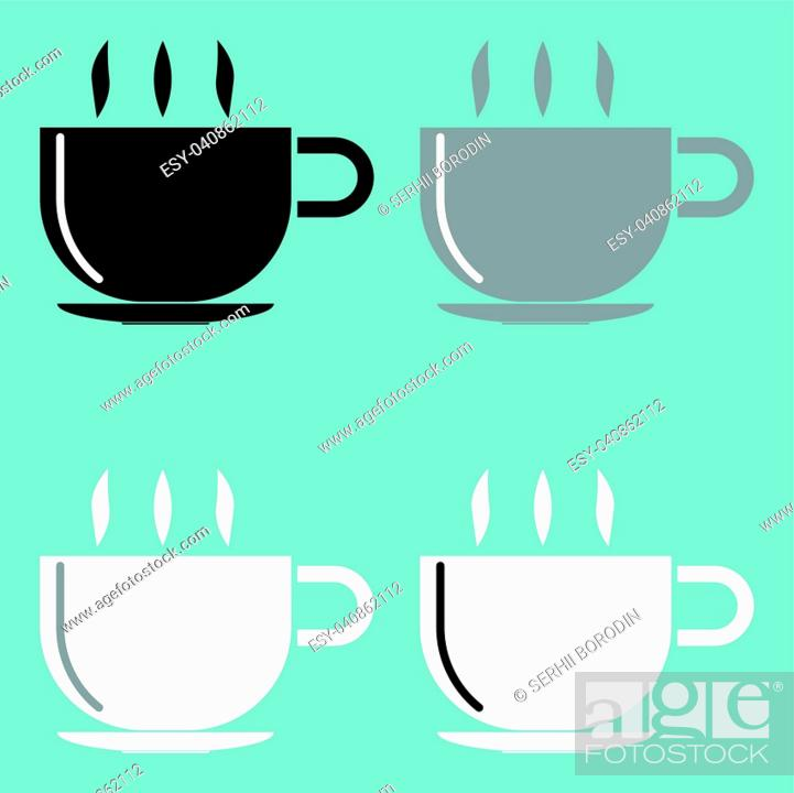 Stock Vector: Cup black grey black icon set.