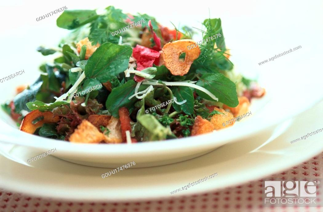 Stock Photo: Green Salad With Croutons.