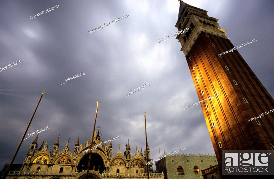 Stock Photo: Nightfall. Piazza San Marco. Venice. Italy.