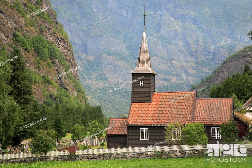 Stock Photo: Church and cemetery, Flam, Norway.