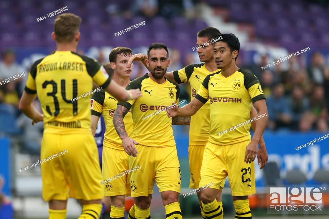 Stock Photo: firo: 06.09.2018, football, 1.Bundesliga, season 2018/2019, test match, VfL Osnabruck - BVB, Borussia Dortmund BVB, jubilation with BRUUN LARSEN.