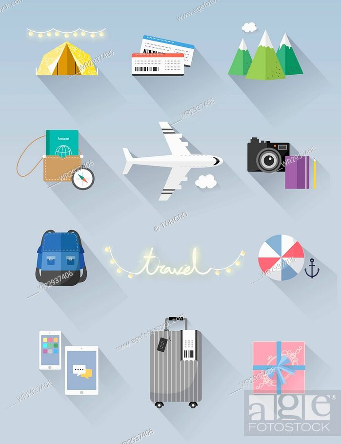 Stock Photo: Various icons related to travel.