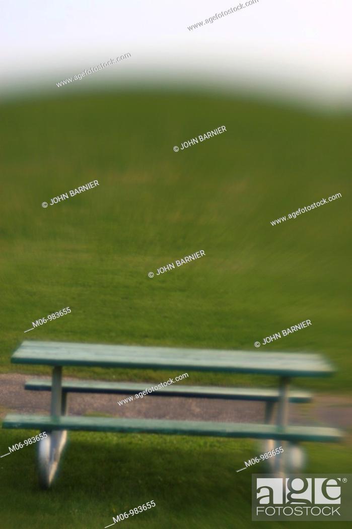 Stock Photo: Single Table in Landscape.
