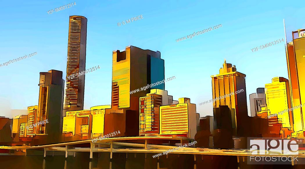 Stock Photo: cartoon filter view of Brisbane city skyline and motorway by the Brisbane River.