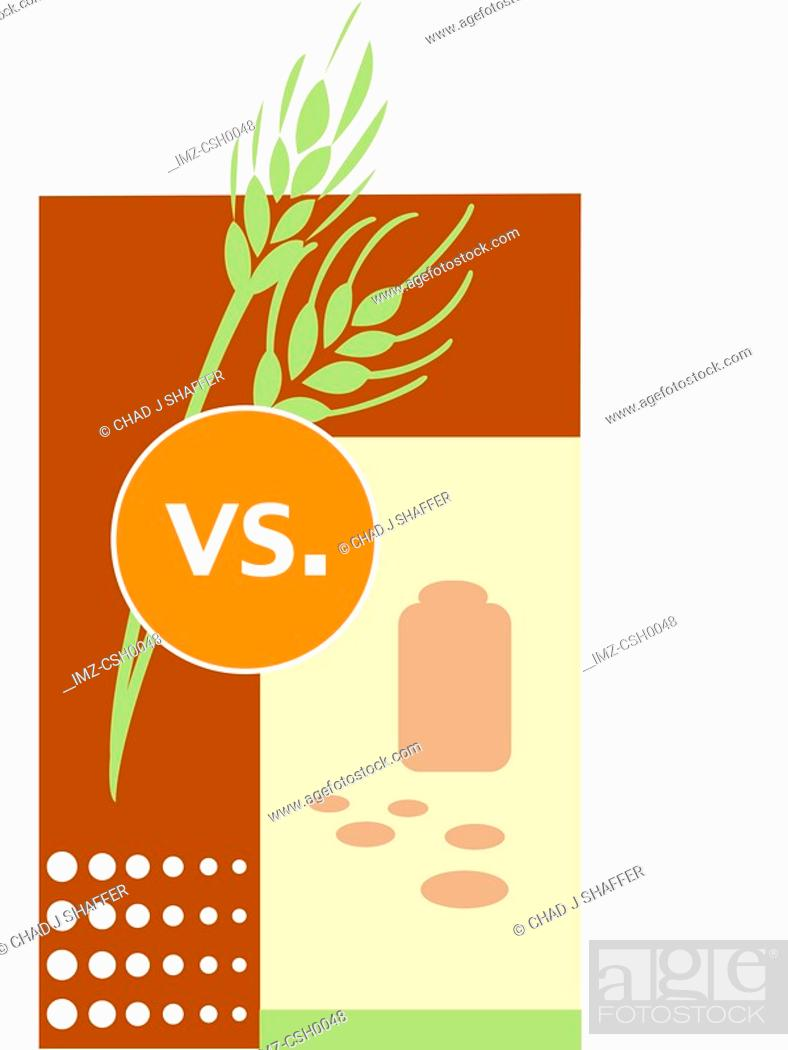 Stock Photo: A poster of a comparison between herbal and prescription medicines.