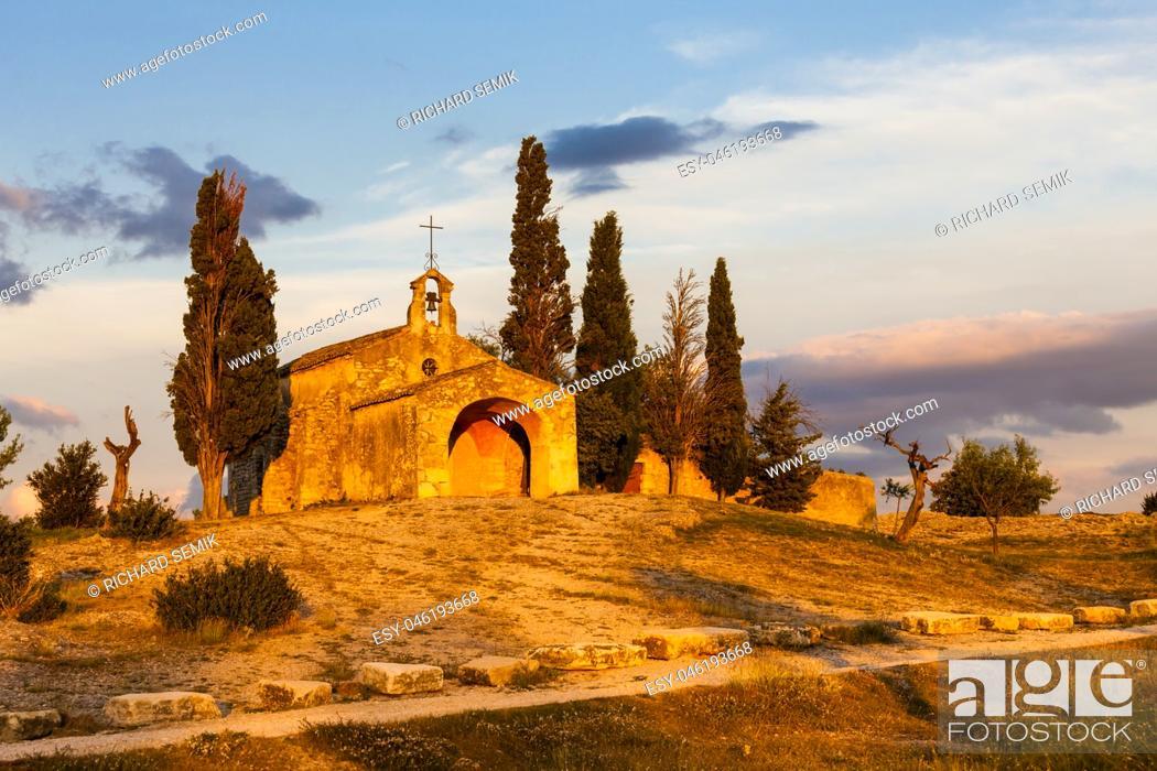 Stock Photo: Chapel St. Sixte near Eygalieres, Provence, France.