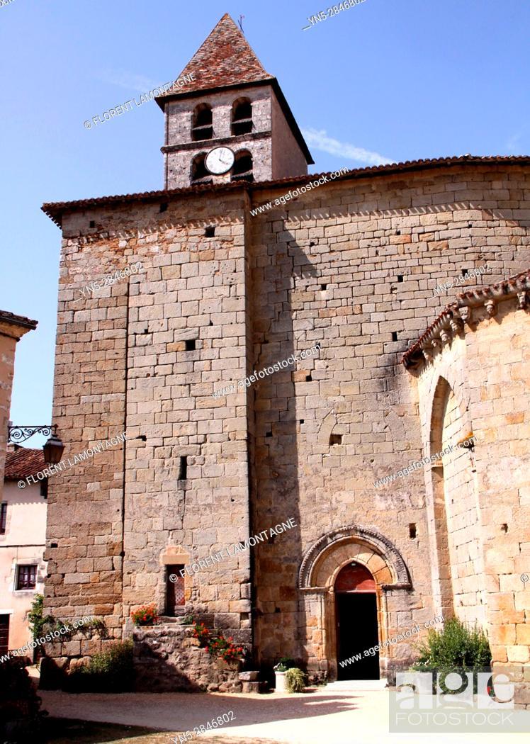 """Stock Photo: Saint Jean de Cole, Dordogne, Aquitaine, France, label """"""""Plus beaux villages de France"""""""". Eglise Saint Jean-Baptiste."""