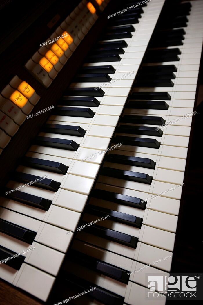 Stock Photo: keyboard closeup of a church organ.