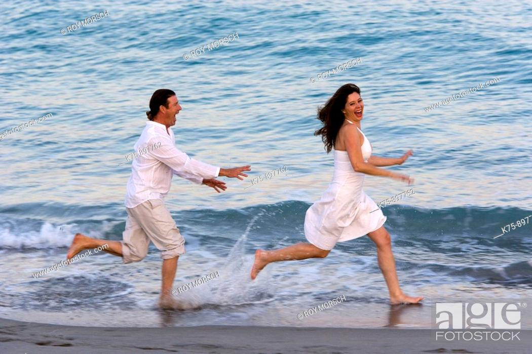Stock Photo: Couple at beach.