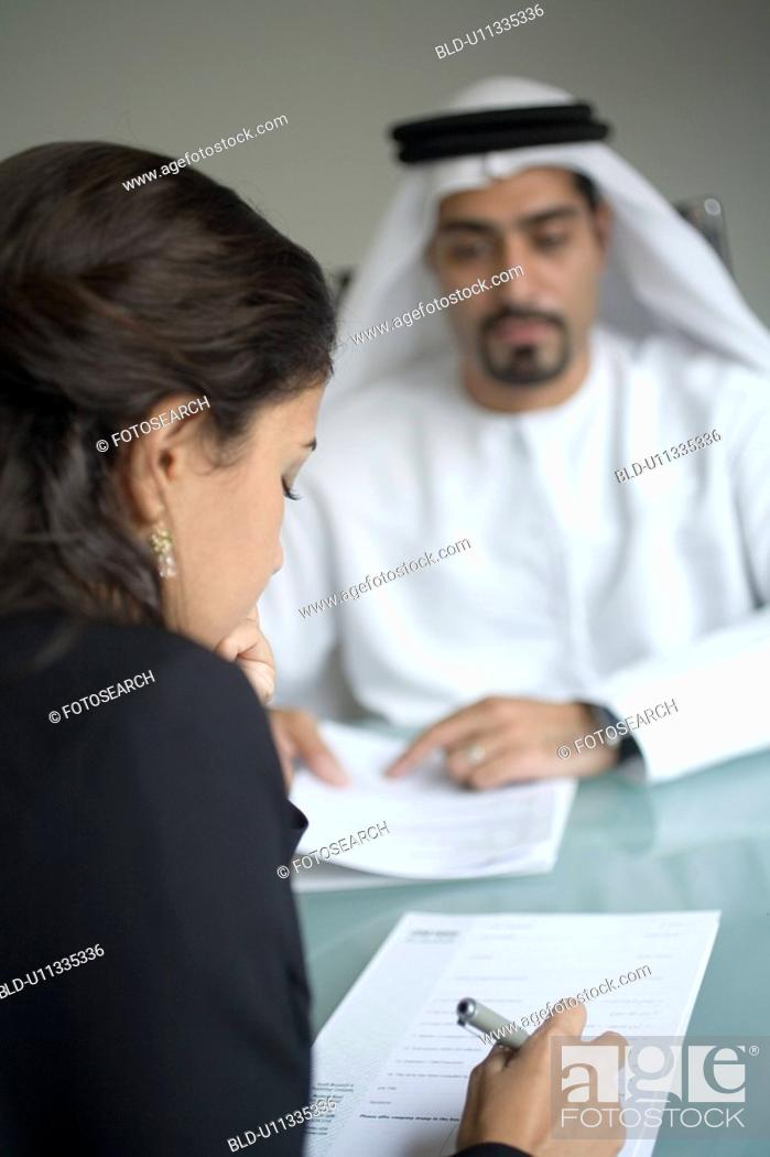 Stock Photo: signing, business, woman, businessmen, businessman, Arabic.