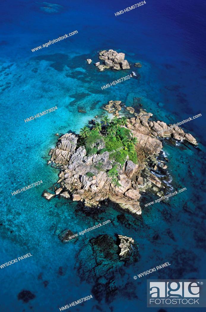 Stock Photo: Seychelles, St. Peter Islet, off Praslin island (aerial view).