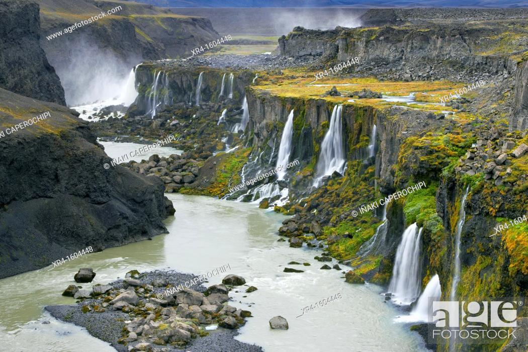 Stock Photo: Hrauneyjafoss Waterfalls, Landmannalaugar, Fjallabak Nature Reserve, Iceland.