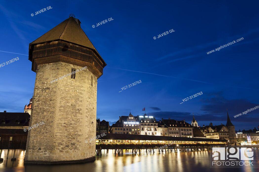 Stock Photo: Kapellbrucke bridge and water tower, Lucerne, Switzerland.