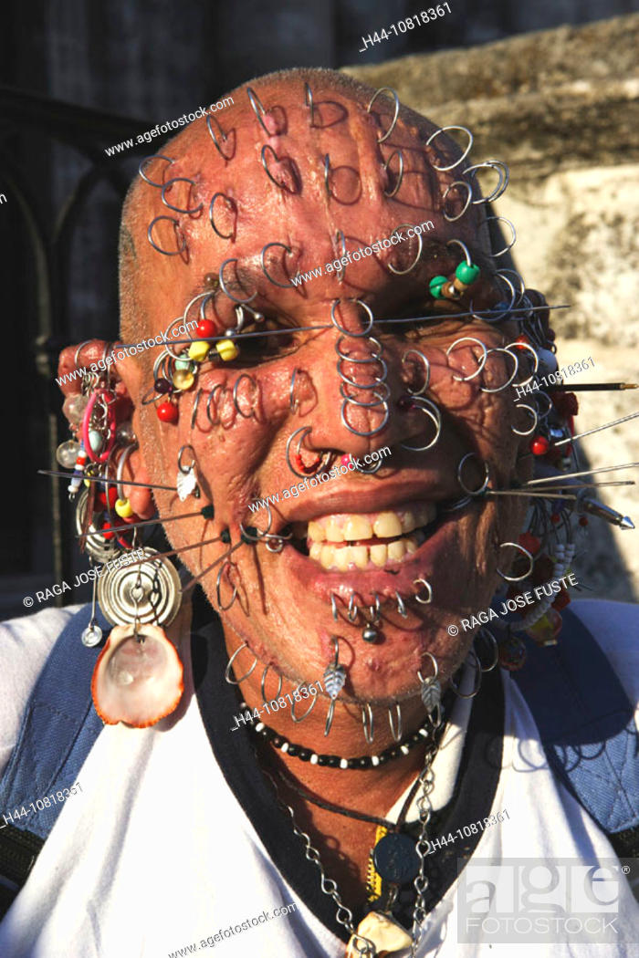 Cuba Man Portrait Piercings Piercing Face Extreme Body