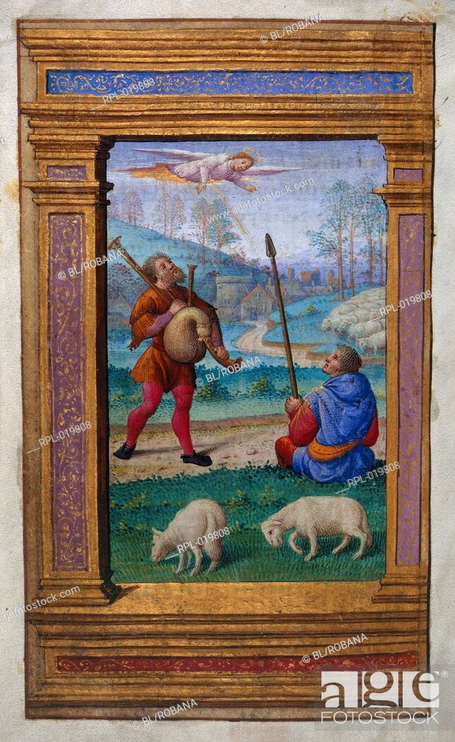 Imagen: Annunciation to the shepherds, Whole folio Office of the Virgin at Terce. An angel appears to two shepherds, one with bagpipes, the other holding a stick.