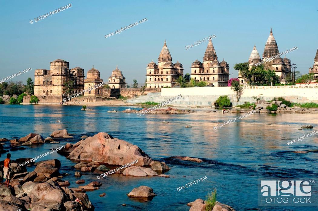 Stock Photo: Cenotaphs on bank of betwa river , Orchha , Tikamgarh , Madhya Pradesh , India.