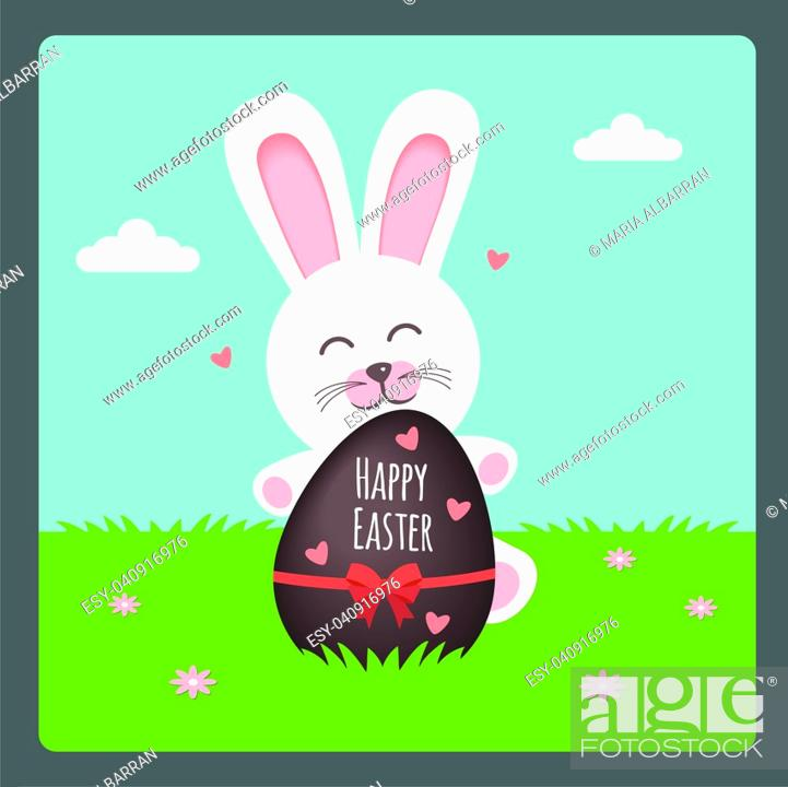 Stock Vector: Happy Easter with bunny and chocolate egg on spring background.