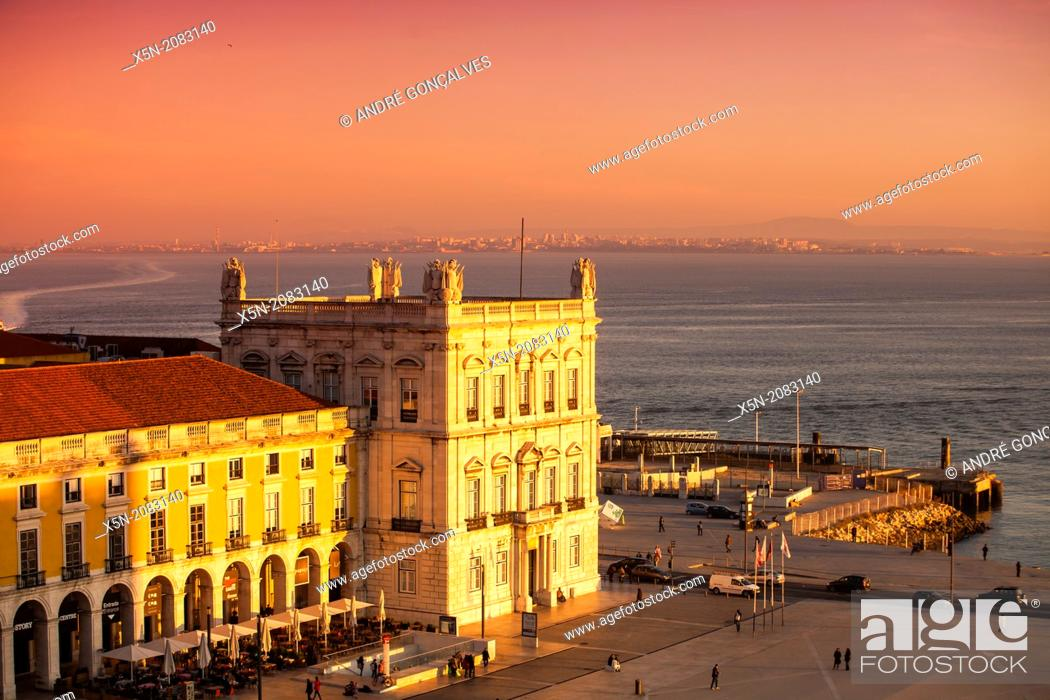 Stock Photo: Praca do Comercio at Sunset, Lisbon, Portugal, Europe.