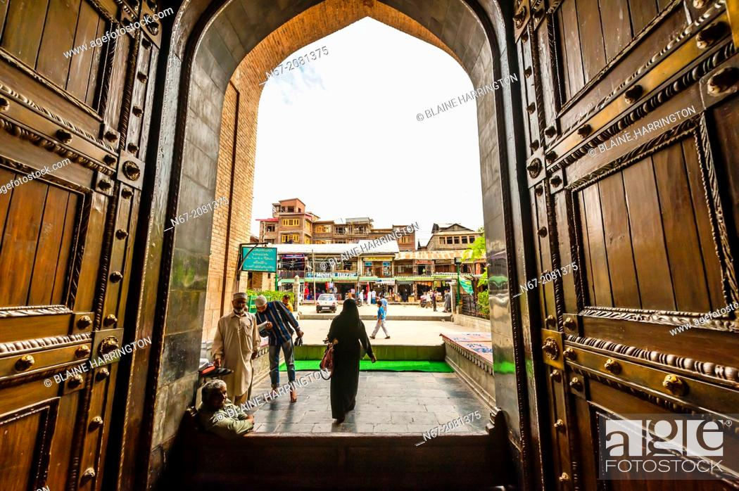 Stock Photo: Jama Masjid Mosque, Srinagar, Kashmir, Jammu and Kashmir State, India. The mosque was built in 1394.