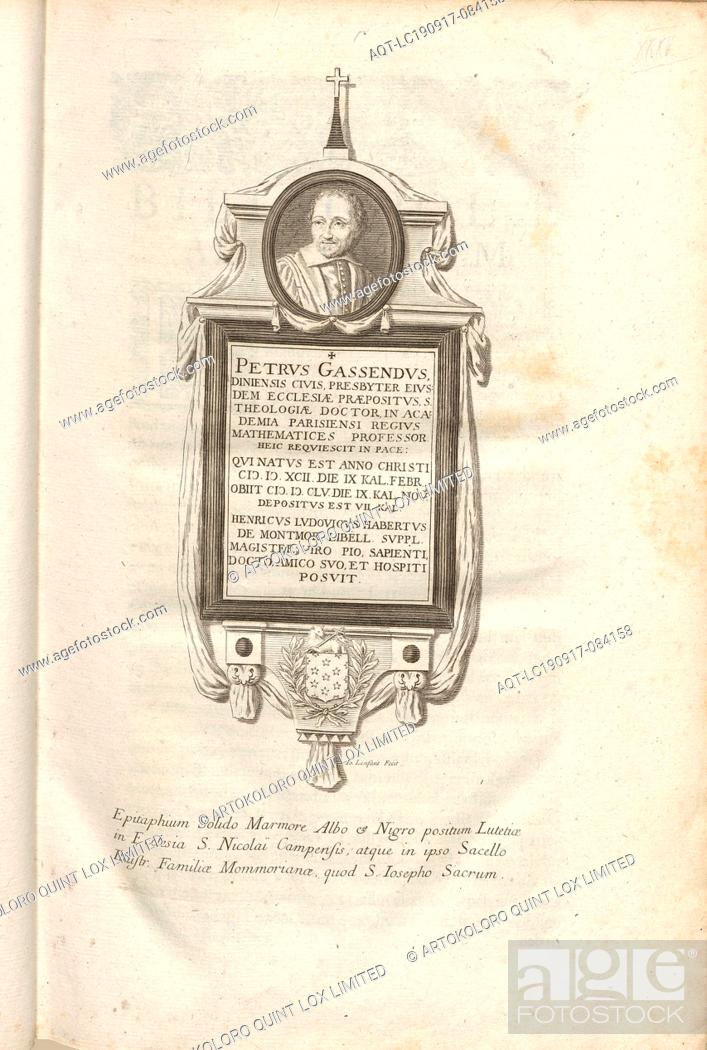 Imagen: Peter Gassendus, Diniensis native elder of the church superior .., Portrait and tomb of Pierre Gassendi in the chapel Sainte-Cécile in the church.